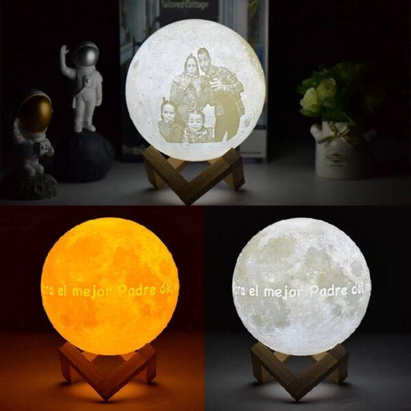 Regalos para navidad hechos a mano, lampara luna personalizada 0